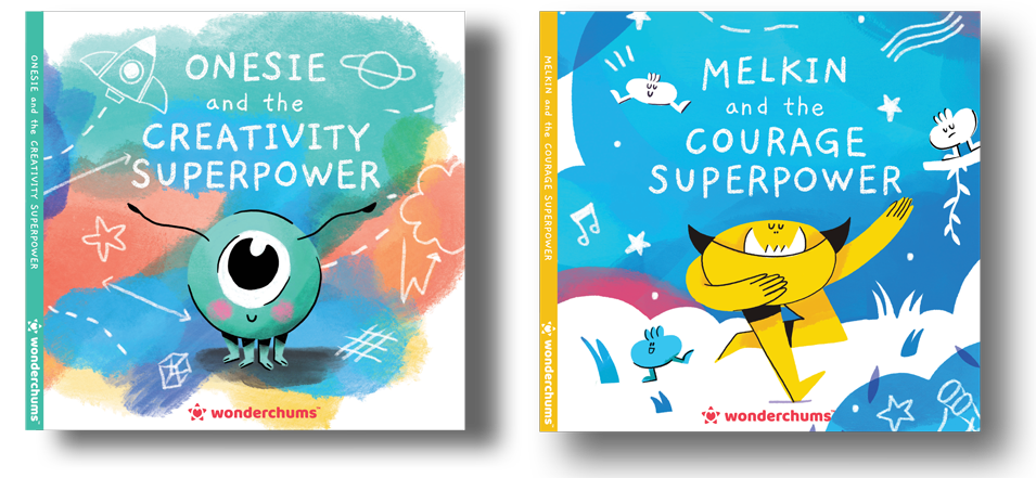 Two children's book covers of Onesie and Melkin Wonderchums discovering their Superpowers of Creativity and Courage.