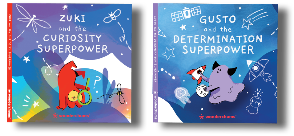 Two children's book covers of Zuki and Gusto the Wonderchums discovering their Superpowers of Curiosity and Determination.